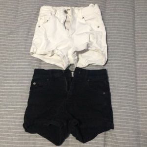 SET OF 2 -Garage Black & White high waisted shorts